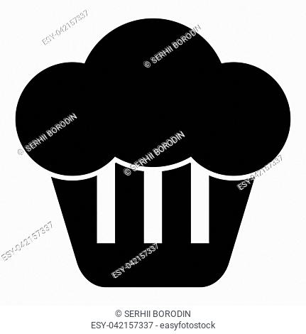 Cupcake icon black color vector illustration flat style simple image