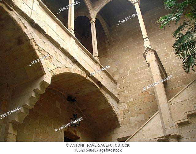 Gothic courtyard of the old Hospital de Santa Maria, Lleida, Spain