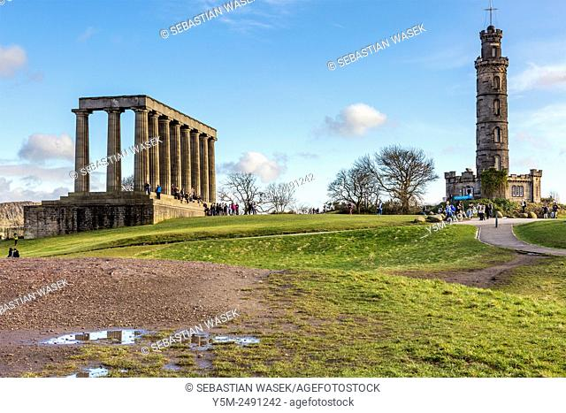 National Monument and Nelson Monument at Calton Hill, Edinburgh, City of Edinburgh, Scotland, United Kingdom, Europe