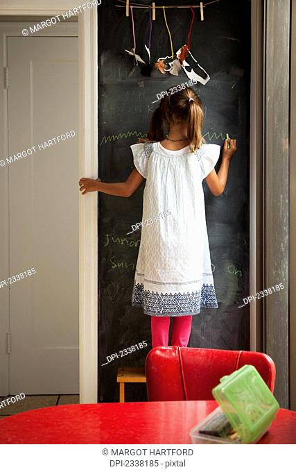 A young girl stands drawing on a chalkboard wall; San Francisco, California, United States of America