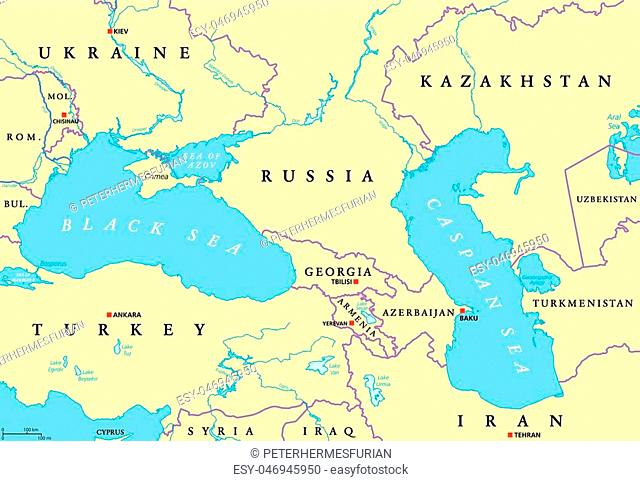Black Sea and Caspian Sea region political map with. Illustration. English labeling. Vector