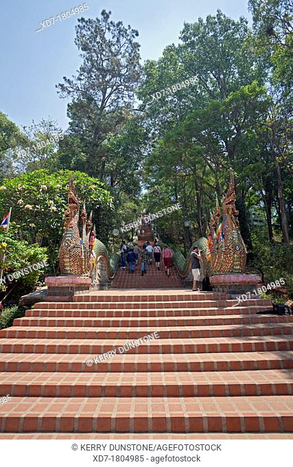 Ornate staircase into temple complex, Wat Phrathat Doi Suthep, Chiang Mai Province, Thailand