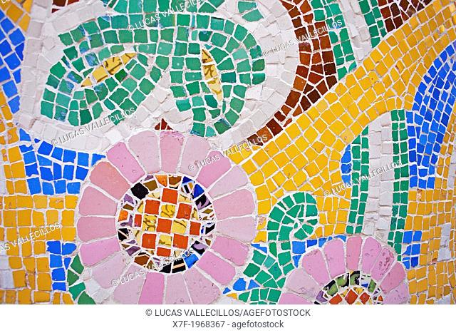 Palau de la Musica Catalana, tile mosaic, detail of old ticket office, by Lluis Domenech i Montaner, Barcelona, Spain