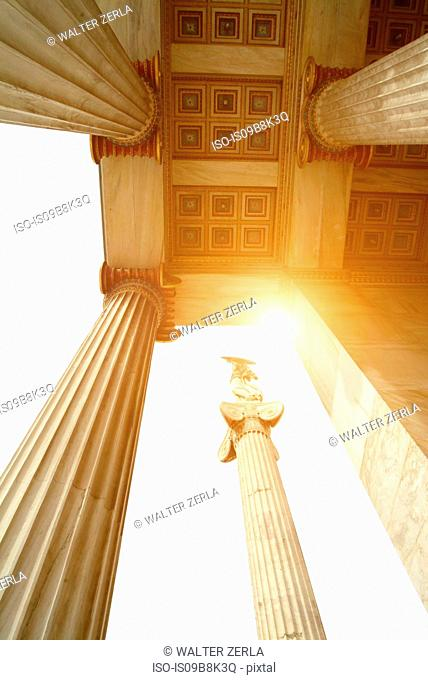 Low angle view of stone pillars, Academy of Athens, Athens, Attiki, Greece, Europe