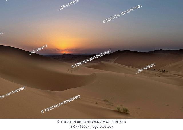 Sunset on the dunes of Tanamoust, Sahara, Marokkov