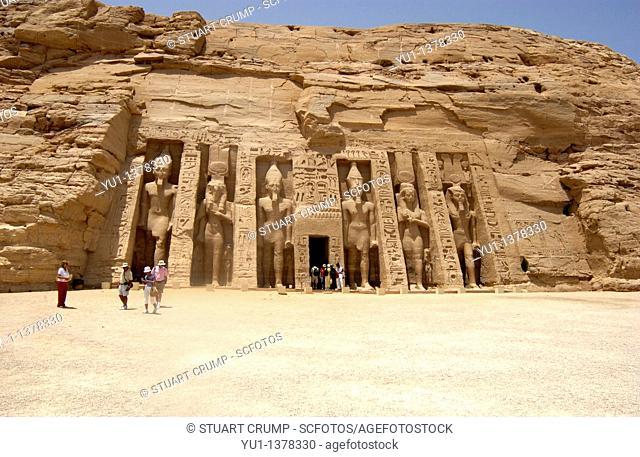 Nefertari's temple of Hathor in Abu Simbel,West Bank of Lake Nasser, Southern Egypt