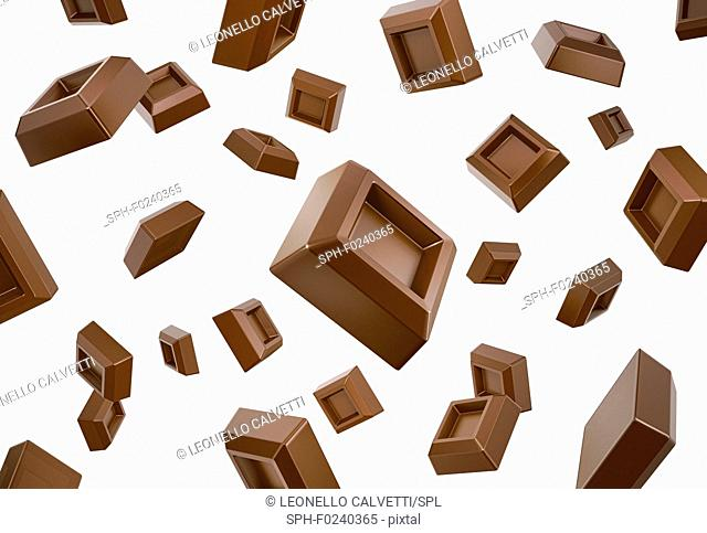 Many chocolate cubes falling down flying in white space. Isolated