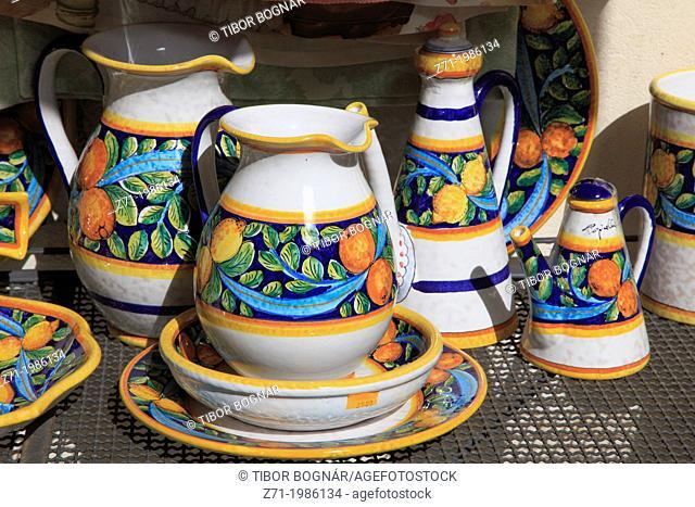Italy, Sicily, Taormina, ceramics shop,