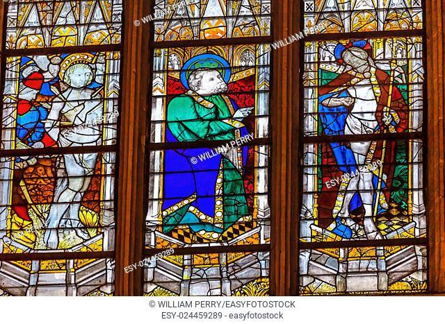 Saint Sebastian Saint t Patrick Risen Jesus Christ Stained Glass Saint Severin Church Paris France. Saint Severin one of oldest churches Paris located in the...