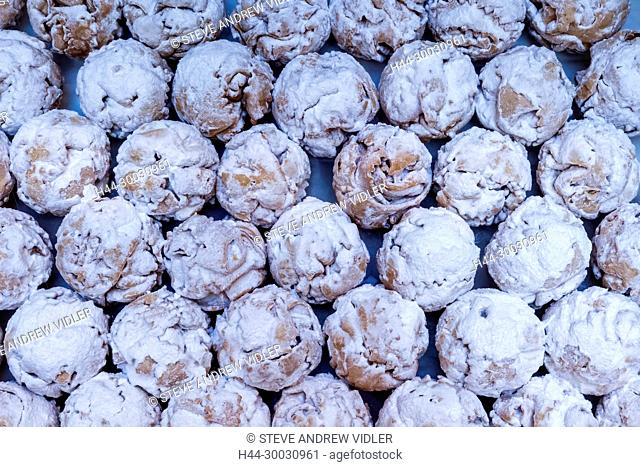 Germany, Bavaria, Romantic Road, Rothenburg ob der Tauber, Display of Schneeballs (Snowballs)