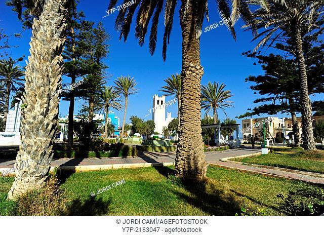 Plaza España and the old colonial church . Sidi Ifni. Morocco .North Africa