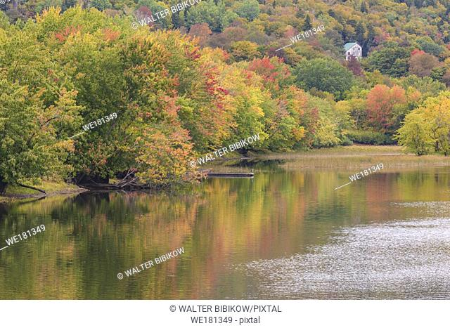 Canada, New Brunswick, Kennebecasis River Valley, Hampton, autumn river foliage