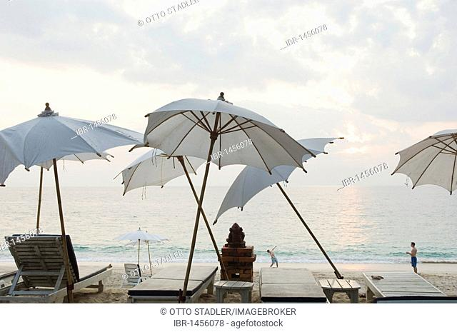 Umbrellas at Long Beach or Phra Ae Beach, Ko Lanta or Koh Lanta island, Krabi, Thailand, Asia