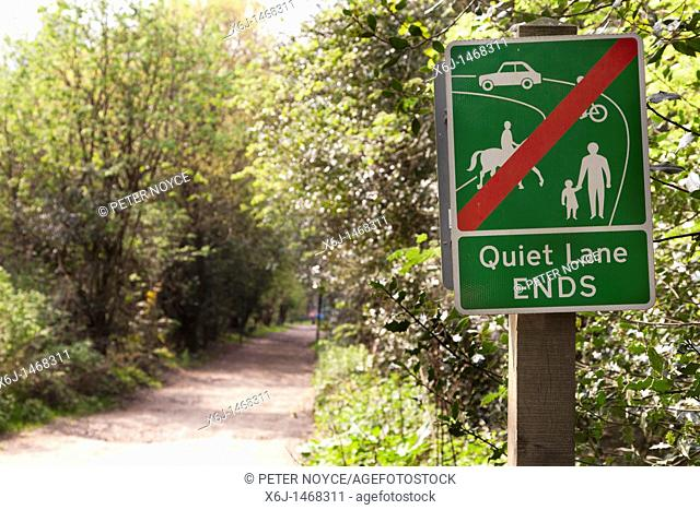 end of Quiet land sign on country lane at Hindhead