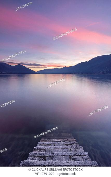 Sunset in front of Ascona on Lake Maggiore, Canton Ticino, Switzerland