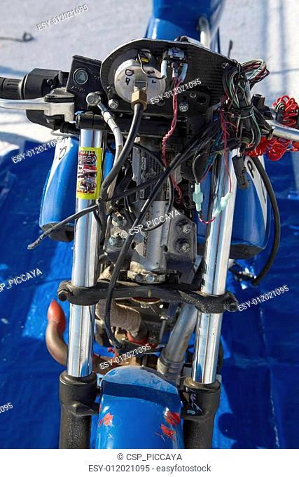 Salt Lake, Utah - September 8: Detail of an unidentified blue super bike during the World of Speed at Bonneville Salt Flats Recreation Area Utah USA
