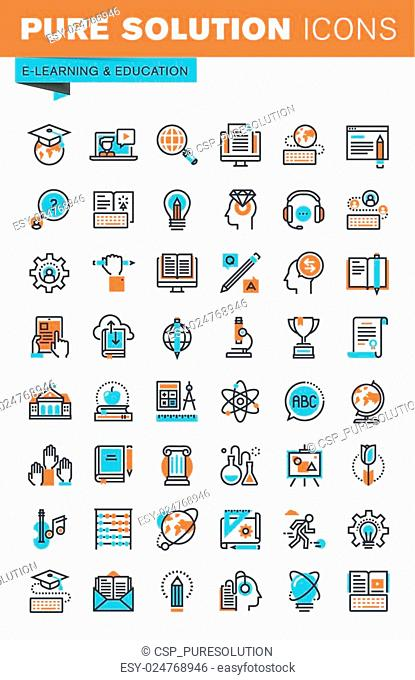 Thin line web icons for education
