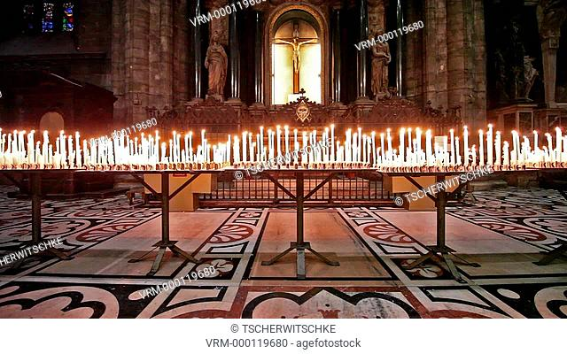 Candles, Milan Cathedral, Italy, Europe