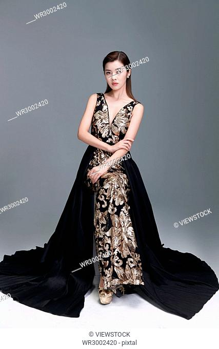 Elegant woman in evening dress