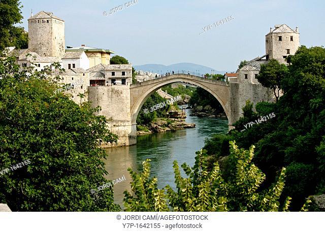 Stari Most Peace Bridge and the Neretva river Mostar Bosnia- Herzegovina Balkans Europe