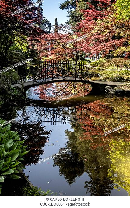 Private garden of the historic villa Villa Melzi d'Eril, Bellagio, Como Lake, Lombardy, Italy, Europe