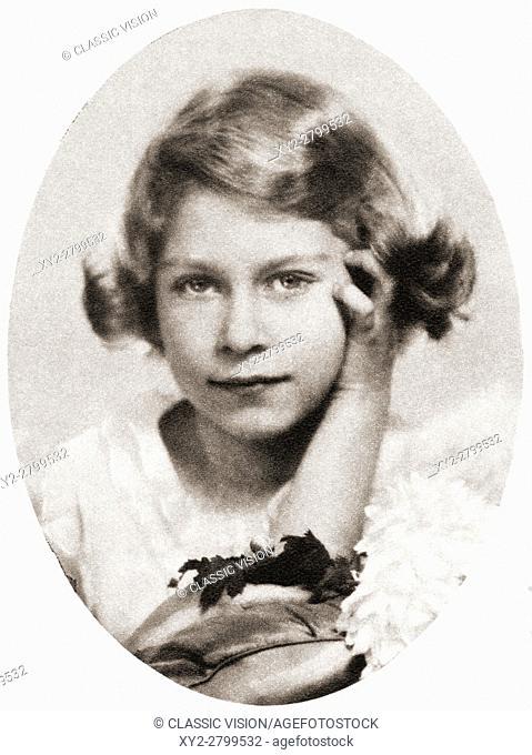 Princess Elizabeth, future Queen Elizabeth II, seen here aged nine. Elizabeth II, born 1926. Queen of the United Kingdom, Canada, Australia and New Zealand