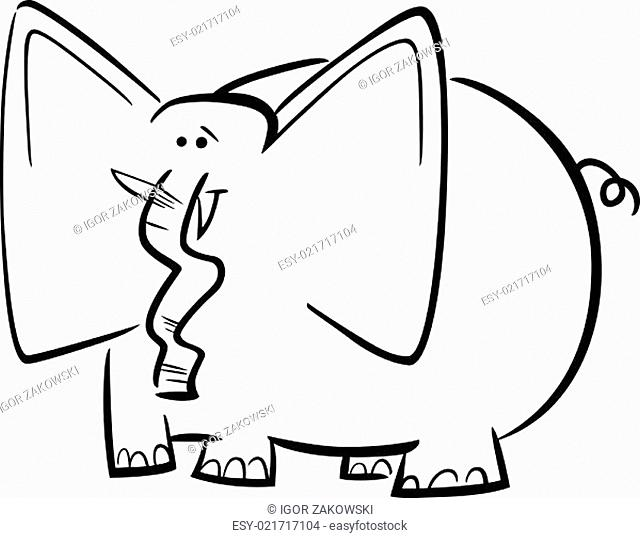 elephants cartoon for coloring book
