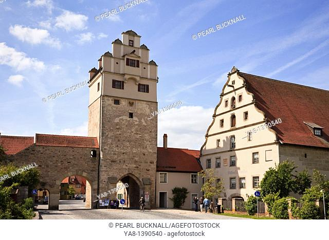 Dinkelsbühl, Bavaria, Germany, Europe  Nordlingentor Nordlingen Gate tower and mill with Third Dimension Museum by the old town walls