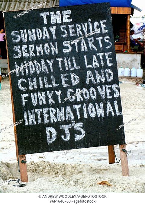 Beach blackboard advertising party Ko Pha Ngan island Thailand