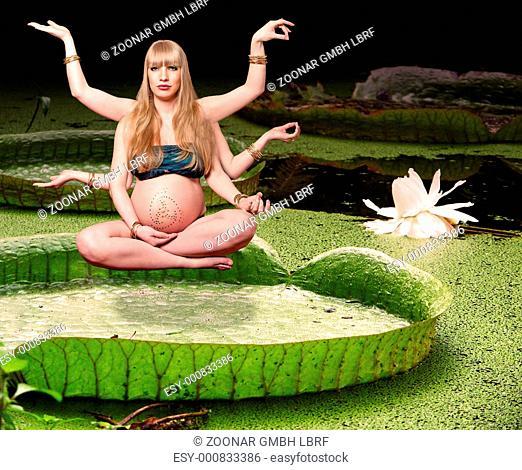 Blond pregnant goddess