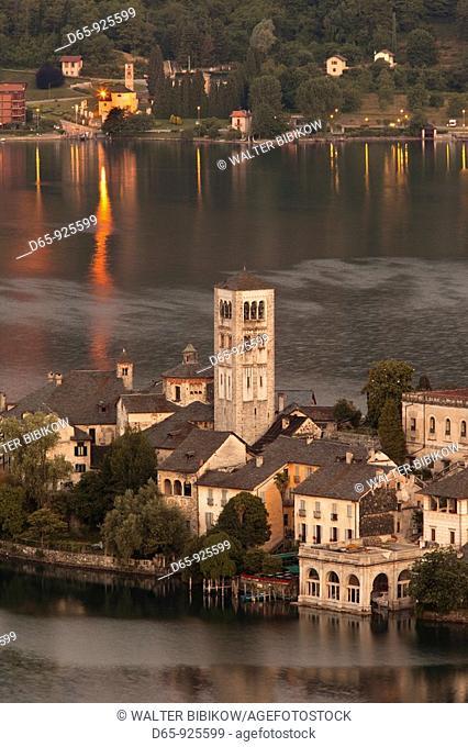 Italy, Piedmont, Lake Orta, Orta San Giulio, Isola San Giulio island, high angle view, dawn
