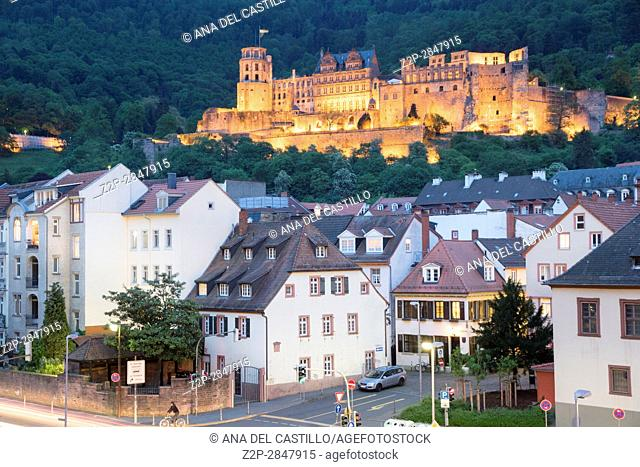 Heidelberg, GERMANY - May 12, 2016: panoramic view of the town riverside with Heidelberg Castle by twilight. Neckar River
