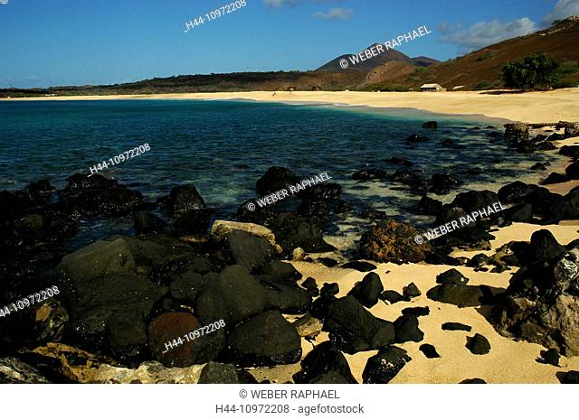 Ascension, Ascension Island, Long beach, coast, sand beach, volcano, mountain, evening, rock, cliff
