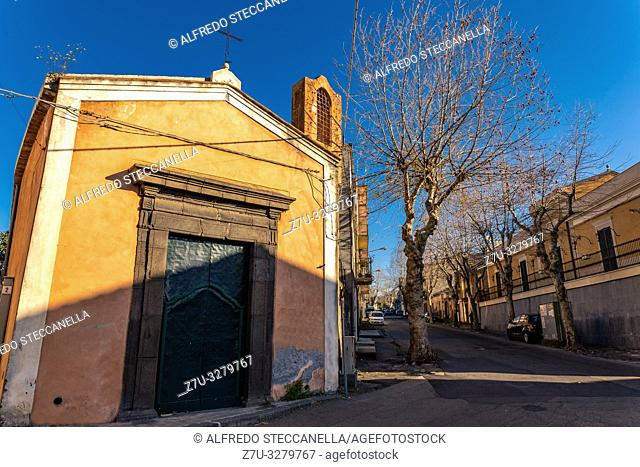 The Ancient Sicilian church in the beautiful morning sun