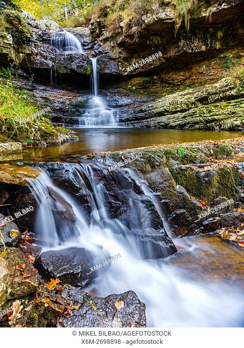 waterfall in Huzmeana creek. Saja-Besaya Natural Park. Cantabria, Spain, Europe