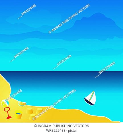 Illustration of a beach seaside resort with toys and sandcastles