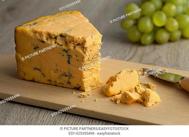 Wedge of English Shropshire Blue cheese for dessert