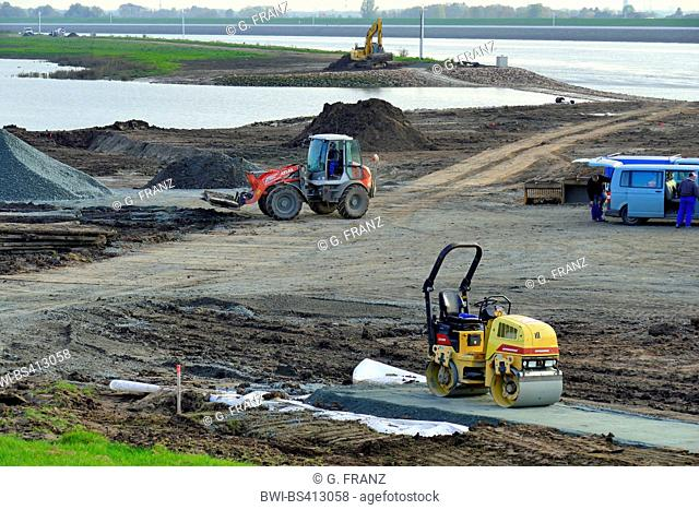 dyke construction and reinforcement at the Wederland. In the background the river Weser, Germany, Bremen-Lesum