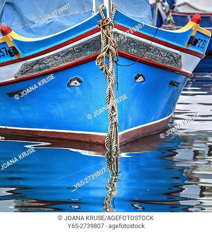 Bow of traditional Maltese fishing boat called Luzzu, with the Eye of Horus or Osiris
