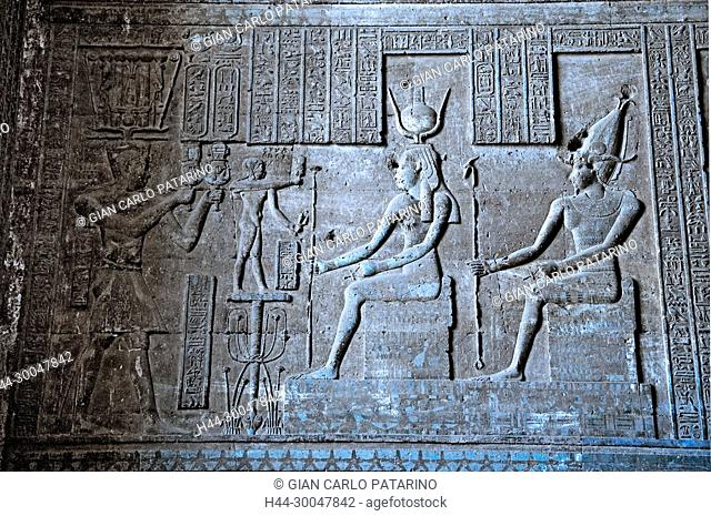 Dendera Egypt, ptolemaic temple dedicated to the goddess Hathor. Carvings on hypostyle hall