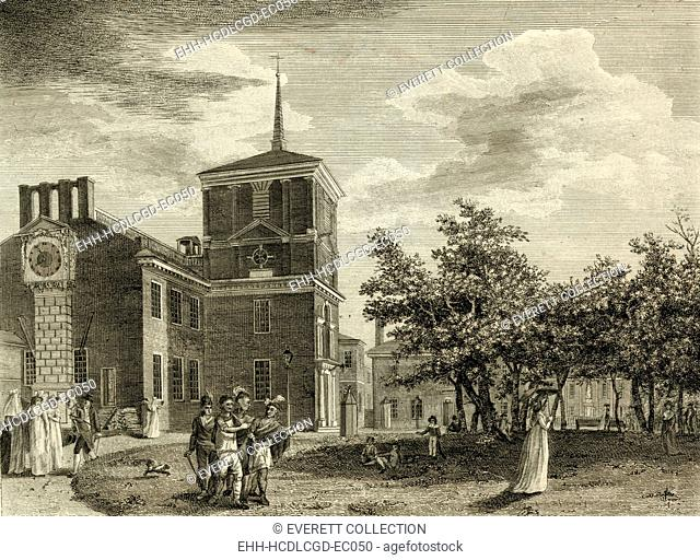 Back of the State House, Philadelphia. A view of Independence Hall in Philadelphia in 1799,by William Birch