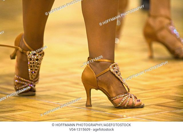 Detail of a female dancer's dancing shoes at a dancing competition, Germany, Europe