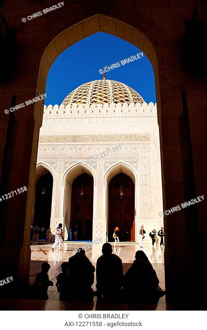 Dome and archway, Sultan Qaboos Grand mosque; Muscat, Oman