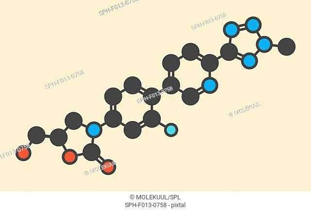 Tedizolid antibacterial drug molecule. Stylized skeletal formula (chemical structure). Atoms are shown as color-coded circles: hydrogen (hidden), carbon (grey)