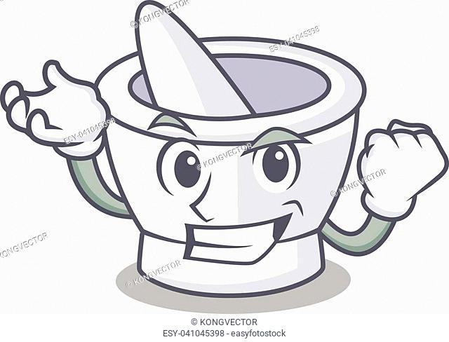 Successful mortar character cartoon style vector illustration