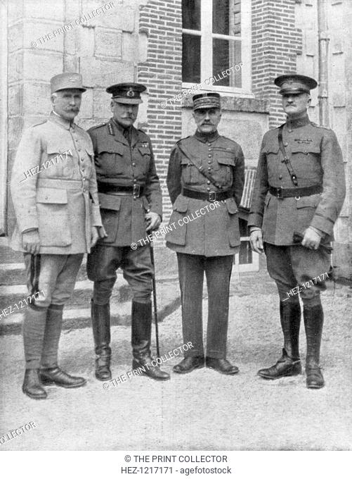 The four Allied commanders, Chateau Bombon, France, 1918. From left to right: General Philippe Petain, Commander-in-Chief of the French Army; Field Marshal...