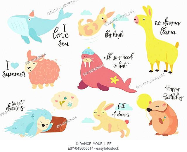 Big vector set of cartoon animals rabbits, llama, porcupine, walrus, whale, sheep and hamster