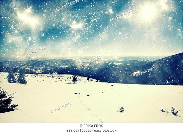 Snowy path on the hillside and beautiful abtract blue sky