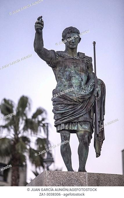 Replica of Augustus of Prima Porta statue at dusk. Merida, Spain