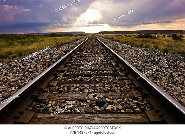 Railroad track parallel to New Mexico Route 66
